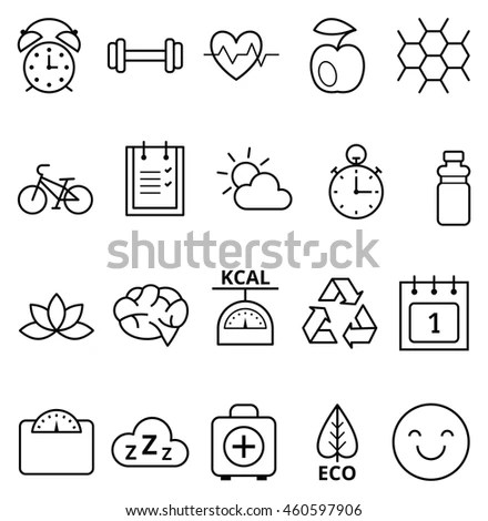 Basic Health Fitness Icons Stock Vector 124836079
