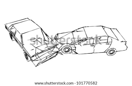 Rear View Outlined Car Open Hood Stock Vector 299242931