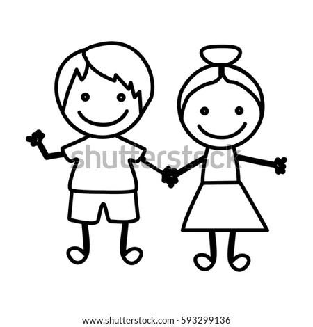 Selfie Children Illustration Over Color Background Stock