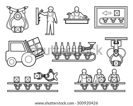 Industrial Manufacturing Process Icons Set Line Stock