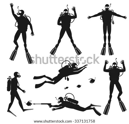 Scuba Diver Silhouettes Diving Silhouettes On Stock Vector