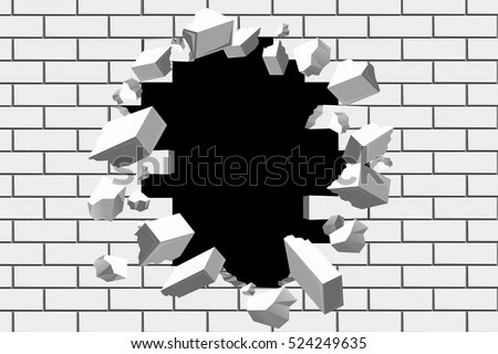 Black Hole Animated Wallpaper Brick Wall Break Vector Background Destroyed Stock Vector