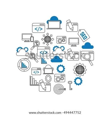 Digital Marketing Laptop Business Megaphone Device Stock