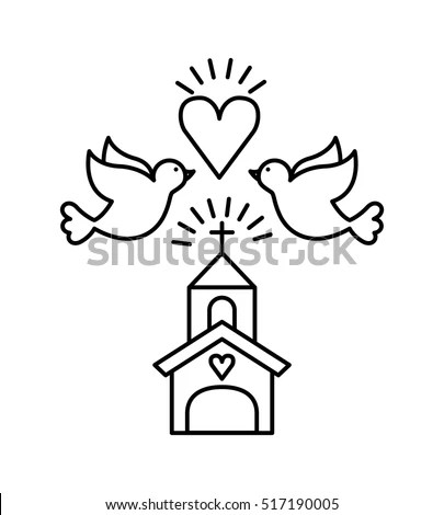 Church Doves Heart Icons Over White Stock Vector 517190005