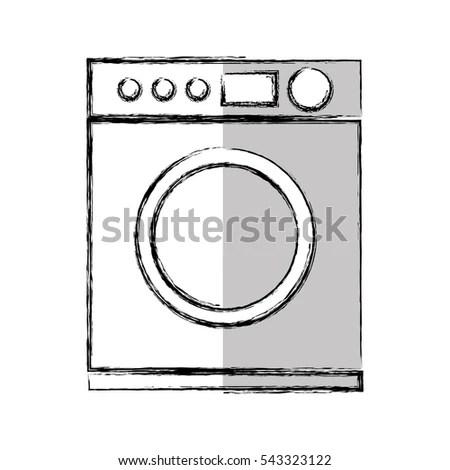 Doodle Washer Dryer Shelf Laundry Detergents Stock Vector