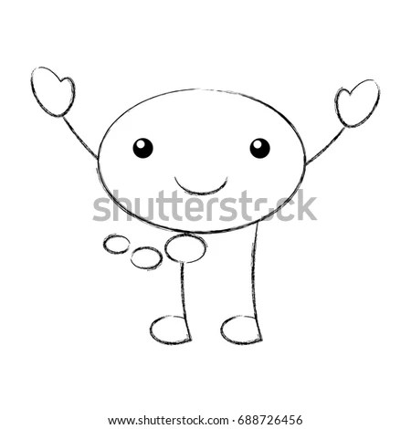 Quirky Drawing Stick Man Balloons Stock Vector 51546241