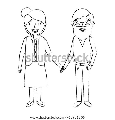 Cute Couple Old Woman Man Grandparents Stock Vector