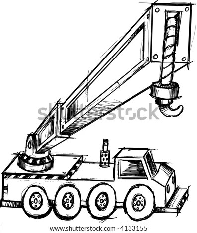 Bitmap Movable Crane Flat Style Stock Illustration