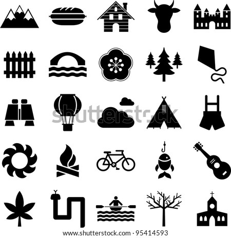Icons Nature Mountain Outdoor Activities Stock Vector