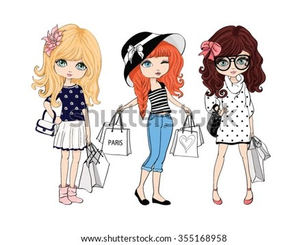 Shopping Girl Vector Design Tshirt Print Three Friends
