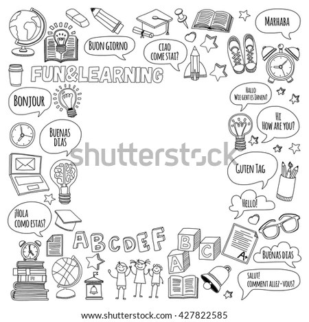 Language School Doodle Vector Set Stock Vector 427822585