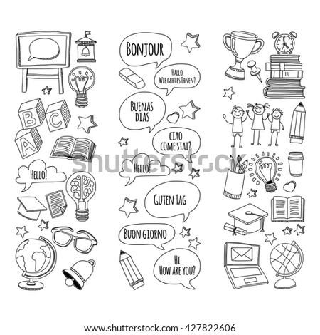 Language School Doodle Vector Set Stock Vector 427822588