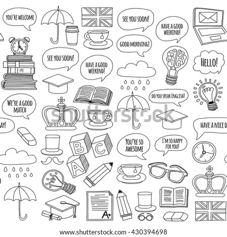 Vector Set Doodle Patterns Icons English Stock Vector