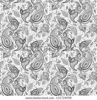 Seamless Paisley Background Hand Drawn Vector Stock Vector ...