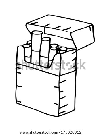 Pack Cigarettes Doodle Style Stock Vector 119372362