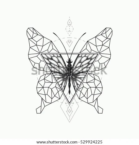 Vector Graphical Butterfly Design Black Sacred Stock