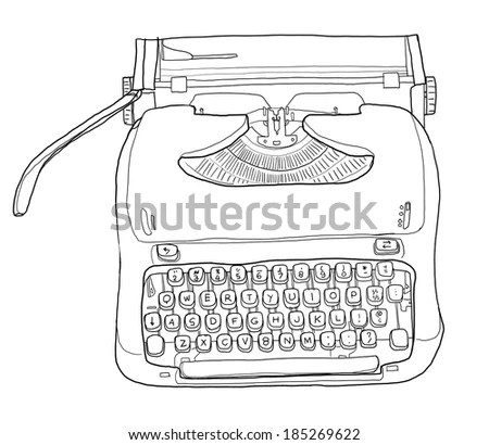 Retro Typewriter Vector Drawing Stock Vector 363251414