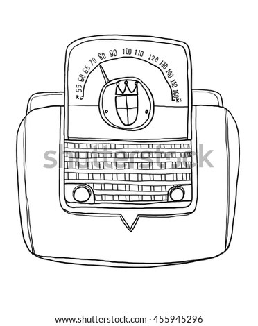 Vector Stereo Boombox Radio Vintage Handdrawn Stock Vector