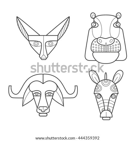 Black White African Masks Animals Fennec Stock Vector