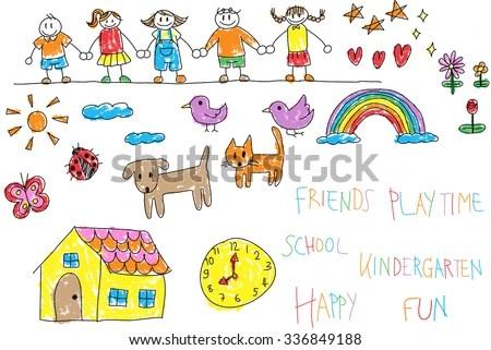 Kindergarten Children Doodle Crayon Drawing Friend Stock