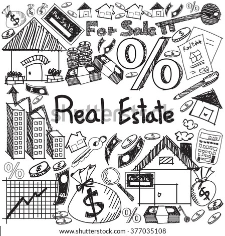 Real Estate Business Industry Investment Handwriting Stock