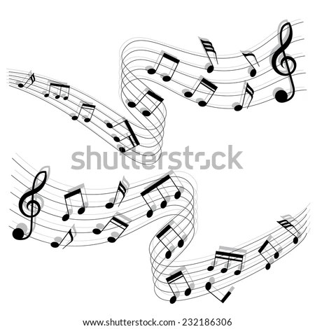 Musical Chords Flowing Ribbon Style Vector Stock Vector