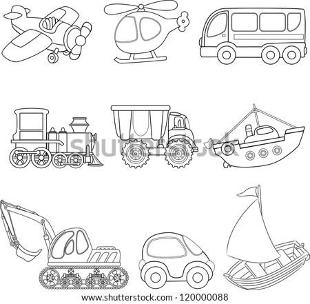 Cartoon Transport Coloring Book Stock Vector 120000088