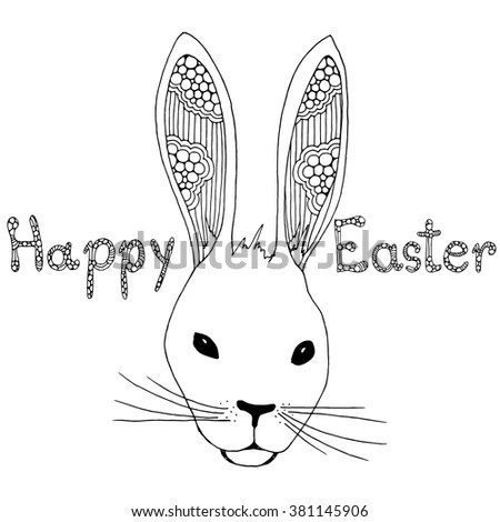 Doodle Easter Rabbits Illustration Stock Vector 383038762