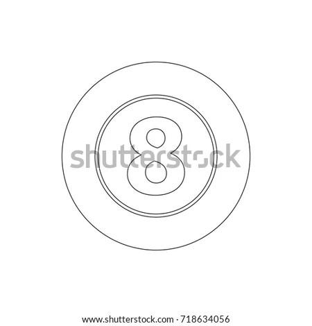 Eight Ball Icon Minimal Tattoo Stock Vector 298298795