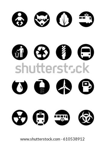 Vector Icons Green Energy Fuel Economy เวกเตอร์สต็อก (ปลอด