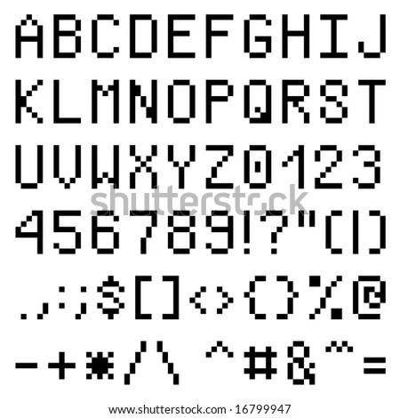 Lower Case Letters Pixel Font Stock Vector 19389136