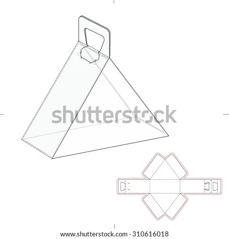 Triangular Carrying Box Handle Die Line Stock Vector