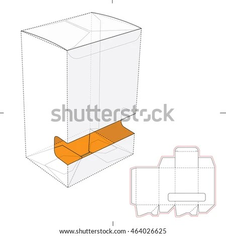 Gravityfed Dispenser Box Die Cut Template Stock Vector