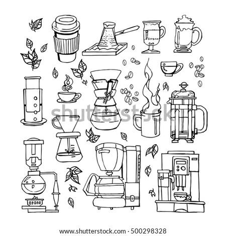Hand Drawn Flat Cartoon Coffee Set Stock Vector 500298328