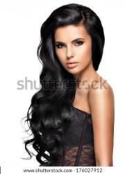 black hair model stock