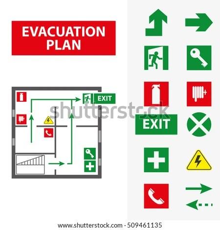 Signs Evacuation Plan Building Case Fire Stock Vector