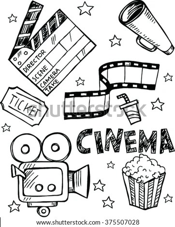 Set Cinema Simple Doodle Style Stock Vector 375507028
