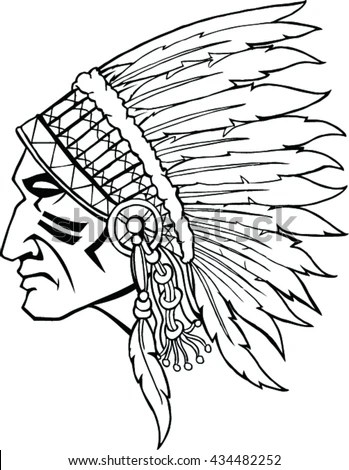 Native American Indian Warrior Profile War Stock Vector