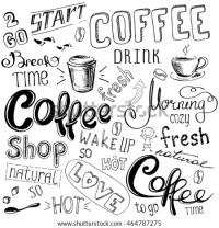 Coffee Doodle Background Hand Drawn On Stock Vector ...