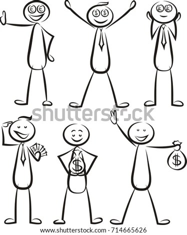 Stick Man Different Poses Walking Jumping Stock Vector