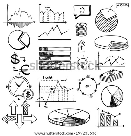 Business Finance Doodle Hand Drawn Elements Stock Vector