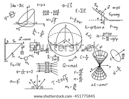Hand Drawn Physics Formulas Science Knowledge Stock Vector