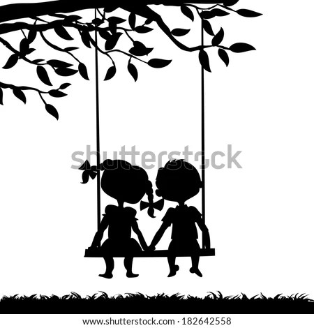 Silhouettes Boy Girl Sitting On Swing Stock Vector