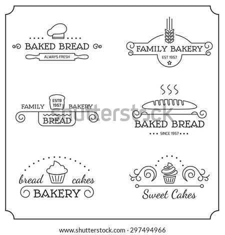 Set Bakery Logos Labels Badges Design Stock Vector
