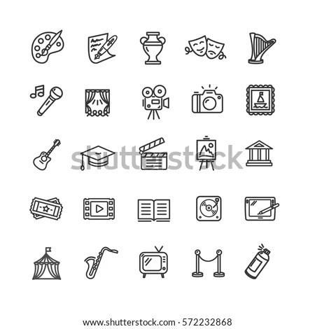 Culture Creative Fine Art Line Icons Vector de stock