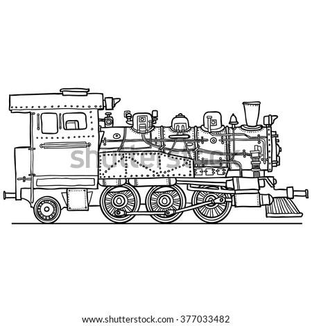 Retro Steam Locomotive Vector Logo Design Stock Vector