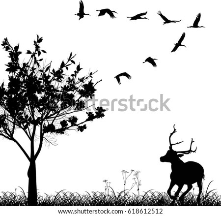 Illustration Deer Silhouettes Isolated On White Stock