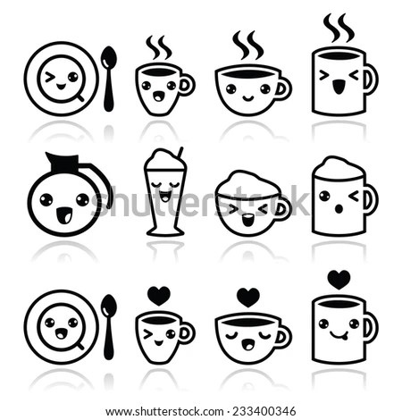 Cute Coffee Cappuccino Espresso Kawaii Icon Stock Vector