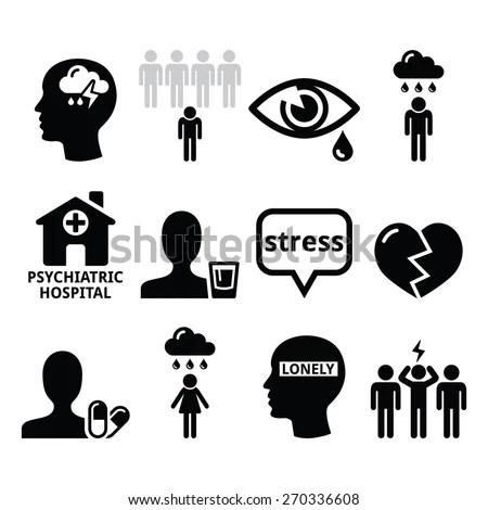 Mental Health Icons Depression Addiction Loneliness Stock
