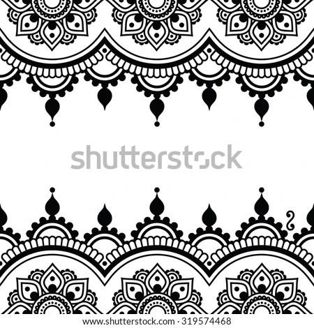 Mehndi Indian Henna Tattoo Design Greetings Stock Vector